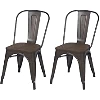 Homebeez Metal Dining chair, Industrial Dining Chair with Wood Seat Black Bronze, Set of 2