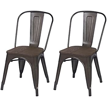 ELEGAN Metal Stackable Tolix Industrial Style Dining Chairs Black Bronze  With Wooden Indoor Outdoor Kitchen,