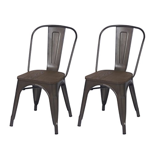 Adeco Metal Stackable Industrial Chic Dining Bistro Cafe Side Chairs, Black Bronze with Wooden seat (Set of 2)