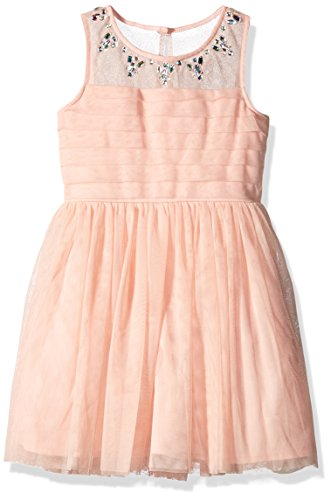 My Michelle Girls' Big Sleeveless Dress with Rhinestone Neckline Pleated Top and Tulle Skirt, Blush, 16 (Clothes My Michelle)