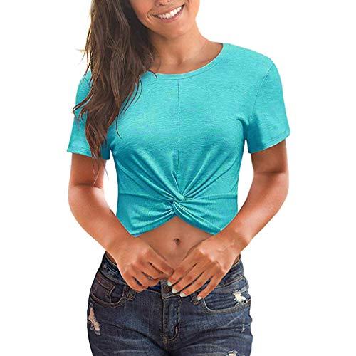 Women Front Twist Crop Tops,Womens Short Sleeve Scoop Neck Tie Knot Sexy Workout T Shirt Tops Light Blue