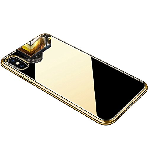 Mirror Phone Cases for iPhone Xs Case iPhone X Case Luxury Fashion Mirror Soft TPU Bumper Frame Shockproof + Tempered Glass Back Cover for Apple iPhone Xs/X Phone Case Protective Case (Gold) ()