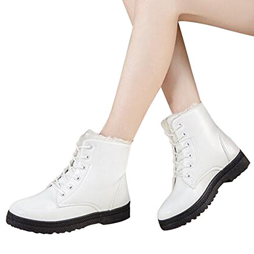 Snow Lace grand Women White Booties up Boots Ankle Hee Platform Flat Boots Sneakers Shoes Winter Fur qHR8nxS