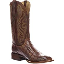 Lucchese Men's Roy Brown/Tan Giant Gator Horseman Boots - Square Toe (10.5 D)