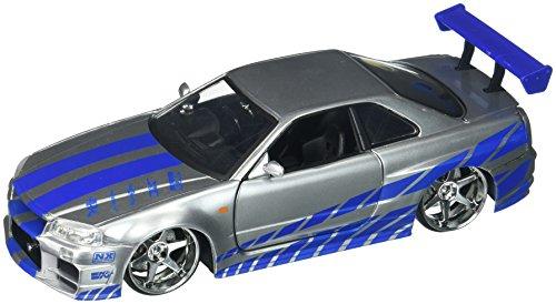 Gt Diecast Model - New 1:24 Fast & Furious Brian's 2002 Nissan Skyline GT-R R34 Diecast Model Car By Jada Toys by Jada