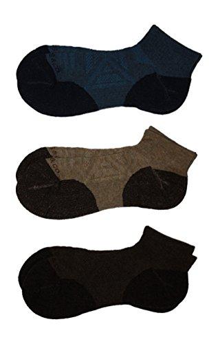G.H. Bass & Co Explorer Merino Wool Blend Quarter Socks 3-Pack Large (Large, Brown/Tan/Blue)