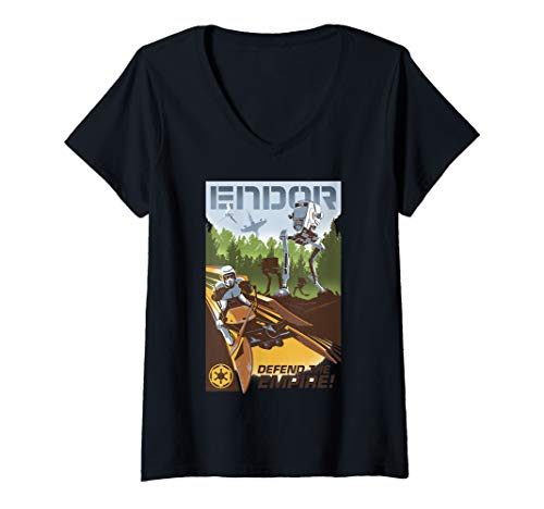 Womens Star Wars Endor Defend The Empire Collage Poster V-Neck T-Shirt