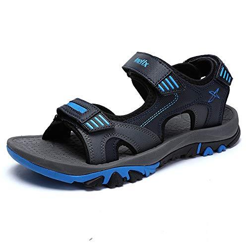 NURJOR Men's Sandals Leather Strap Water Beach Sandal Outdoor Open Toe Sandal Blue