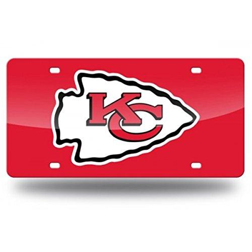 (NFL Kansas City Chiefs Laser Inlaid Metal License Plate Tag)