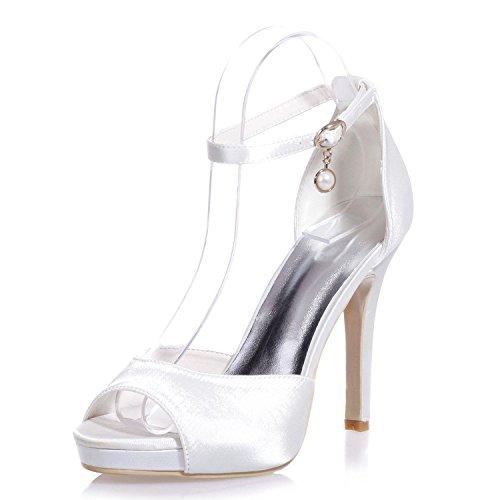 20 White Ocasionales Tacones Para Nocturna 5915 fiesta L Zapatos Y colgante Mujer multi colors Boda yc Toe De Confort peep Altos wRZBqE