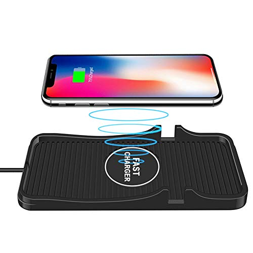 (Wireless car Charger, 10W Wireless Charging Mat Pad for Car, Dashboard Phone Mount, Anti-Skid Car Charging Stations for iPhone and Samsung Qi Enabled Devices)