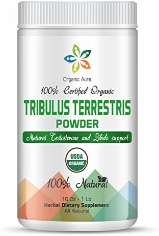 Organic Aura Tribulus Terrestris Powder with Maximum Steroidal Saponins 16Oz – 1Lb. Natural Energy Enhancer, Mood Support, Boosts Libido, Sex and Urinary Tract Protection. Herbal Dietary Supplement.