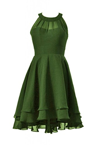 Short Dress High DaisyFormals Low Hunter Prom Green Bridesmaid CST2225 Dress Chiffon Halter qASw6IF