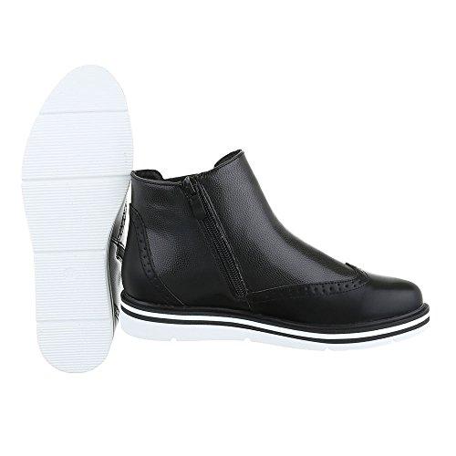 Ital-Design Chelsea Boots Damenschuhe Moderne Stiefeletten Schwarz H719