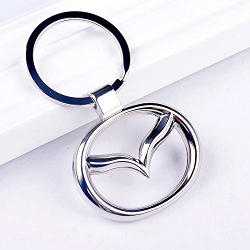 CHAMPLED Mazda Emblem Silver Round Keychain Keyring Logo Fashion Titanium Double Symbol Sign Badge Personalized Custom Logotipo Quality Metal Alloy Nice Gift for Man Woman