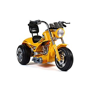 Kids 12V Red Hawk Motorcycle in Yellow