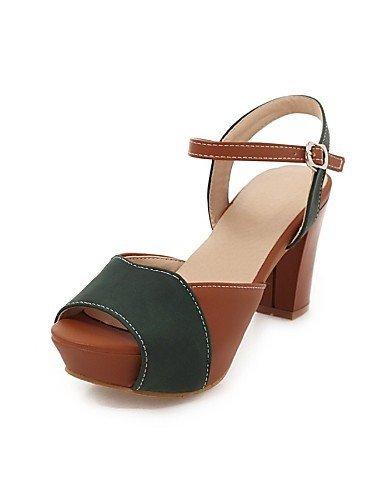 ShangYi Womens Shoes Chunky Heel Peep Toe Sandals Dress Green/Beige Beige
