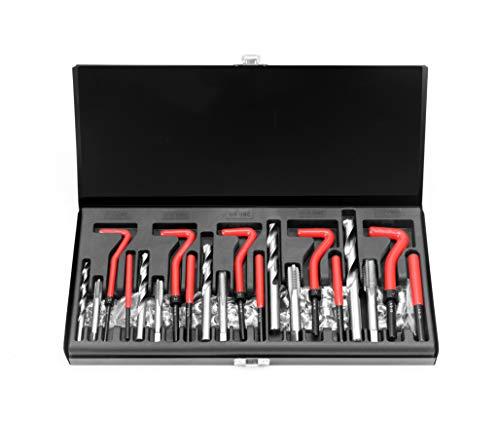 HORUSDY 131Pc Thread Repair Kit, HSS Drill Helicoil Repair Kit SAE,1/4