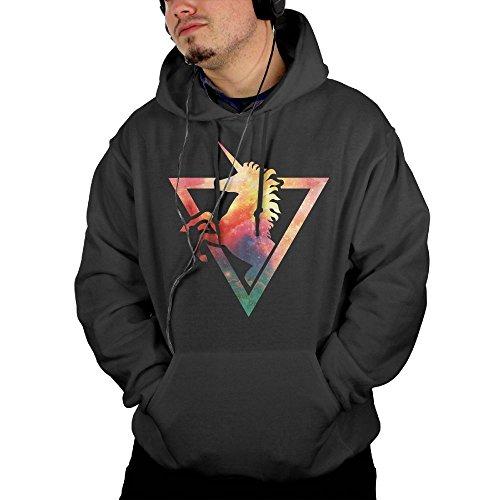 Yak Head Costume (Men's Galaxy Unicorn Hooded Sweatshirt Black Size M)