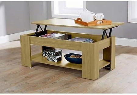Home Source Caspian Lift Top Coffee Table With Storage Shelf Espresso Walnut Oak White Oak