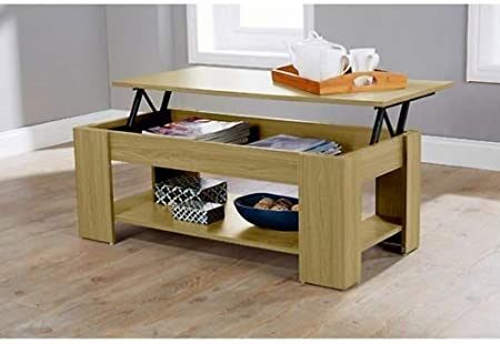 Home Source Caspian Lift Top Coffee Table With Storage Shelf