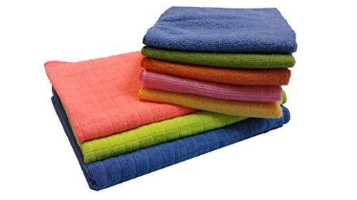 """BEST 8pc Soft Microfiber Cleaning & Drying Cloths KIT – Window Car (SET OF 4 + 1 Bonus) + EXTRA LARGE Floor Microfiber Squeegee Cloths 29""""x19"""" (SET OF 2 + 1 Bonus) STREAK FREE LINT FREE HIGH ABSORBENT"""