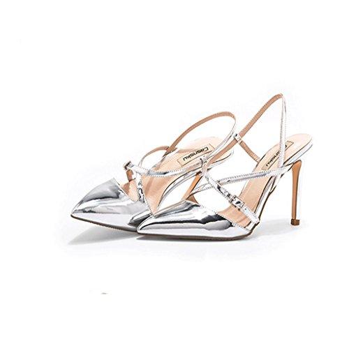 Des Talons Chaussures En Taille Élégantes Chaussures Sexy Sandales Ont 38 Printemps Rêve Et Cheville Fait L'été couleur Argent Cuir Hauts BXzv6