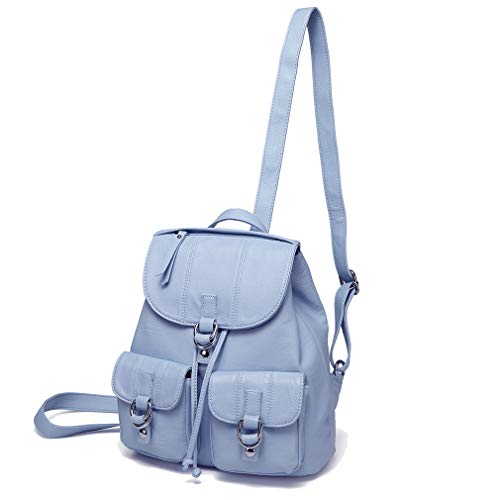 Mini Backpack Purse for Women,VASCHY Fashion Faux Leather Buckle FlapDrawstring Backpack for College with Two Front Pockets Sky Blue