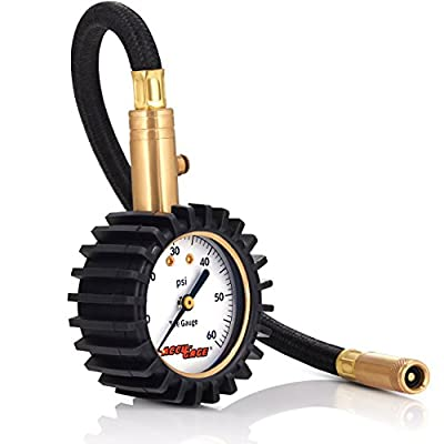 Accu-Gage RH60X Professional Tire Pressure Gauge with Protective Rubber Guard (60 PSI),Straight Chuck: Automotive