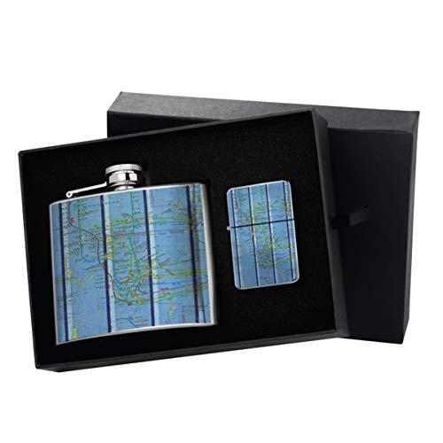 Manhattan Blue Wood - New Vibe Silver Flip-Top Windproof Refillable Pocket Lighter & Silver Pocket Hip Flask Gift Set (Manhattan Flask)