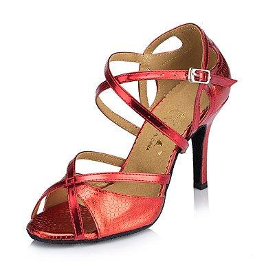 XIAMUO Nicht anpassbar - Die Frauen tanzen Schuhe Leder Leder Latin/Moderne Turnschuhe Ferse Praxis, Blau, UNS 9.5-10/EU 41/ UK 7,5-8/CN 42