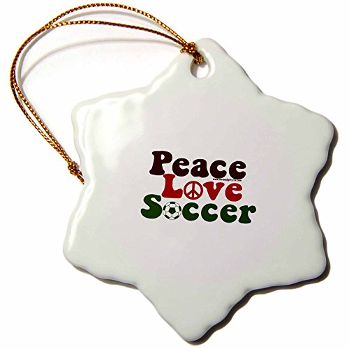 3dRose orn_16665_1 Peace Love Soccer Porcelain Snowflake Ornament, 3-Inch by 3dRose