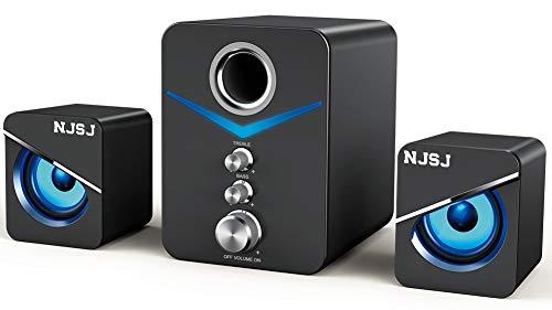 NJSJ 컴퓨터의 스피커와 서브 우퍼 USB 전원 스피커 시스템 2.1 미니 멀티미디어 3.5MM 보조 입력을 가진 LED 가벼운 분위기는 스테레오 초고속 유선 데스크탑 스피커를 PC 노트북 태블릿(블랙)