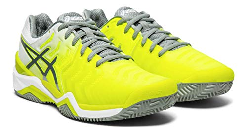- ASICS Women's Gel-Resolution 7 Clay Court Tennis Shoes, Safety Yellow/Stone Grey, 7 M US