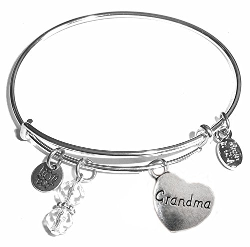 - Hidden Hollow Beads Message Charm (Choose Message) Expandable Wire Bangle Bracelet, in the Popular Style (Grandma)