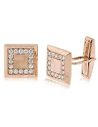 0.82ct 14k Rose Gold Diamond Cuff Links