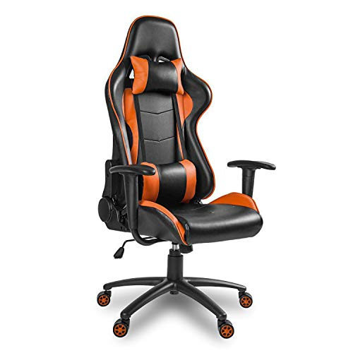 MIERES Video Gaming Chair Racing Office-PU Leather High Back Ergonomic 170 Degree Adjustable Swivel Executive Computer Desk Task Large Size with Footrest,Headrest and Lumbar Support,Orange