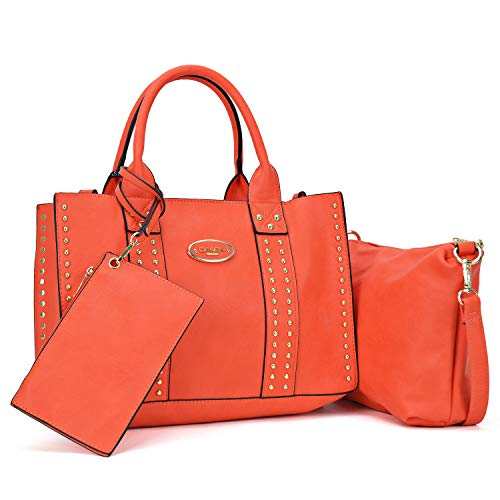 Women Designer Vegan Leather Handbags Fashion Satchel Bags Shoulder Purses Top Handle Work Bags (3pcs 0620W Orange)