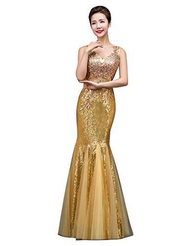 Beauty-Emily Womens Long Mermaid Evening Dresses Applique...