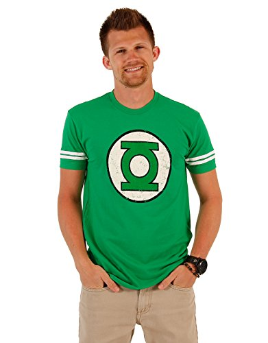 The Green Lantern DISTRESSED Logo With Striped Sleeves Kelly Green Adult T-shirt Tee (Adult X-Large)]()