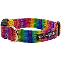 Tie Dye Collar for Pets Size Medium 3/4 Inch Wide and 13-20 Inches Long - Hand Made Dog Collar by Oh My Paw'd