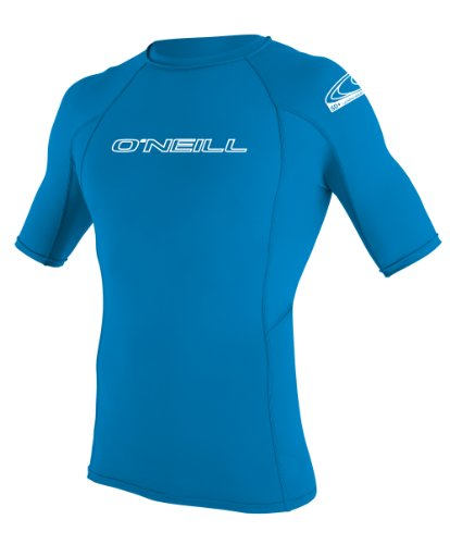 O'Neill Wetsuits UV Sun Protection Youth Basic Skins Short Sleeve Crew Sun Shirt Rash Guard, Bright Blue, 8