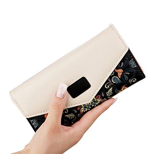 Kaimao Women's Long Clutch Leather Purse Handy Bag Envelope Clasping Purse Handbag Card Holder Wallet Handbag with Small Floral Decor