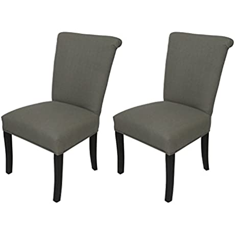 Sole Designs Klein Series Barcelona Collection Upholstered Roll Back Dining Chair Set Of 2 Grey