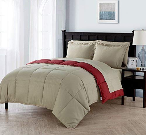 King Size Complete BED-IN-A-BAG Reversible in Taupe / Red Contrasting Colors 7 Pc Set w/ Sheets