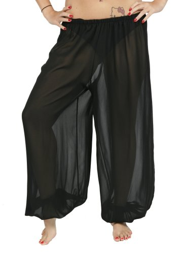 Belly Dance Chiffon Harem Pants | Sheer Shadow - Black