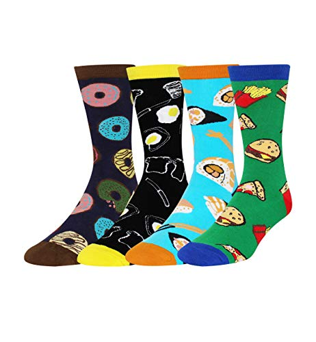 Zmart Men's 4 Pack Novelty Funny Crazy Food Crew Socks, Colorful Cotton Dress Socks with Gift Box