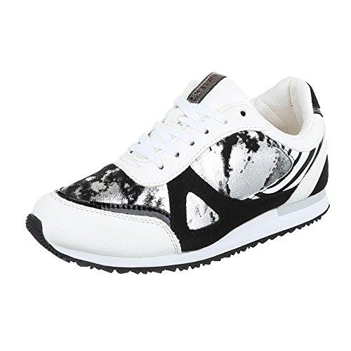 Ital-Design - Zapatillas de Material Sintético para mujer blanco y negro