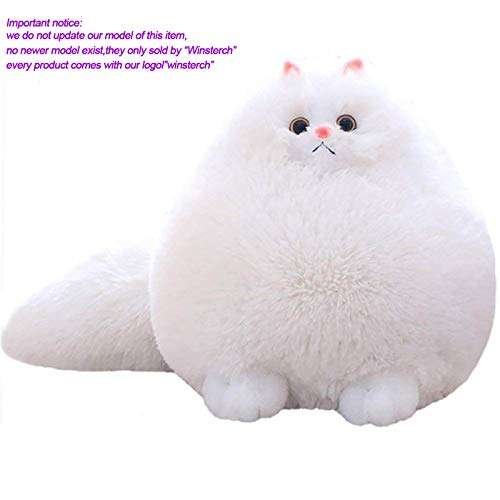 Winsterch Kids Stuffed Cats Toys Gift Animal Baby Doll,White Plush,11.8 Inches