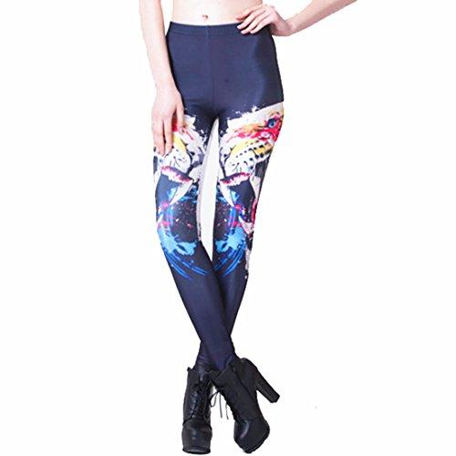 Women's 3D Ferocious Leopard Print Punk Rock Push Up Full Length Leggings Blue
